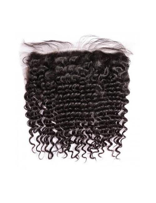 "Mèches péruviennes lace frontal bouclée Deep Curly 12"""