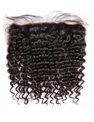 "Mèches péruviennes lace frontal bouclée Deep Curly 16"""