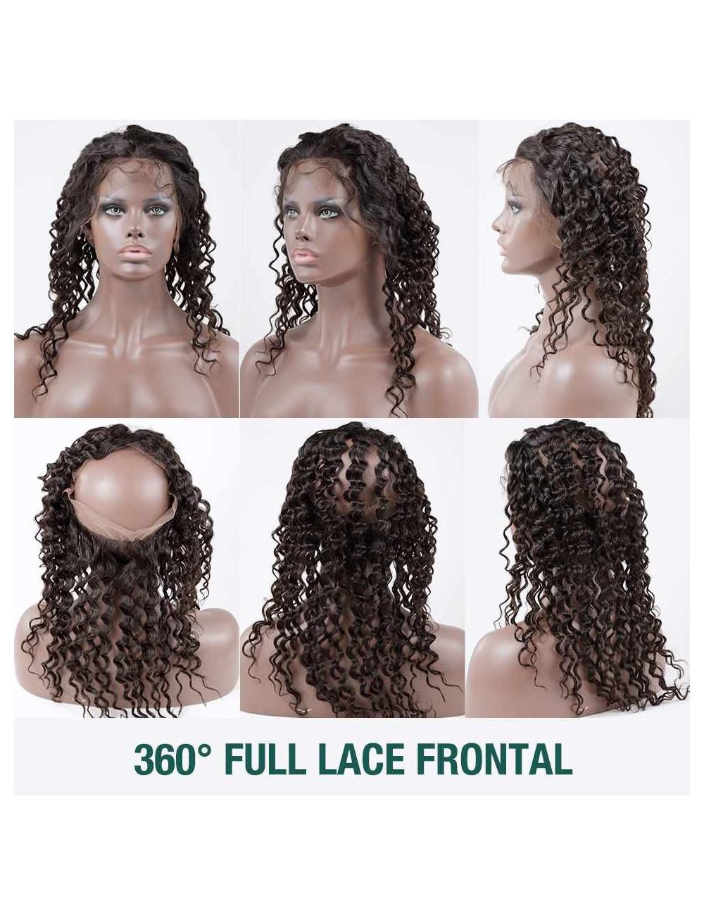"""Lace 360° bouclé Deep Curly indien 12"""""""