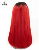 Perruque Lisse Rouge Closure 4*4 18 pouces