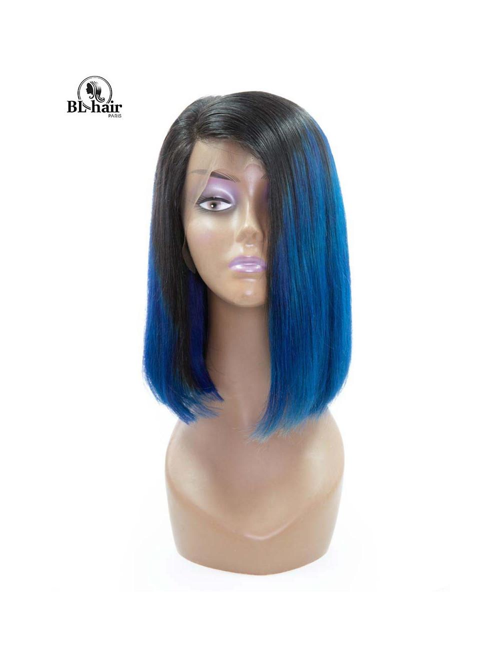 Perruque Lisse Bleu Lace Frontal 12 pouces