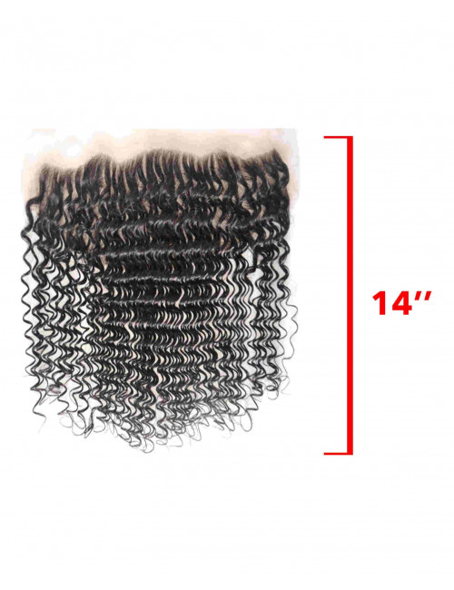 Mèches Chinoises Lace Frontal Bouclé Deep Wave 14""