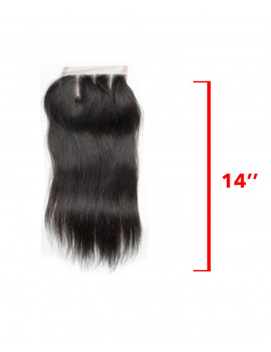 Mèche Indienne Closure Lisse 3 Raies 14""