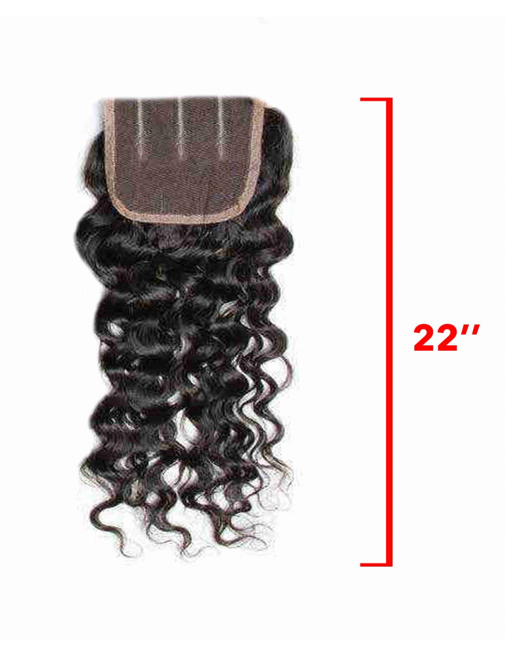 Mèche Indienne Closure Bouclée Deep Waves 3 Raies 22""
